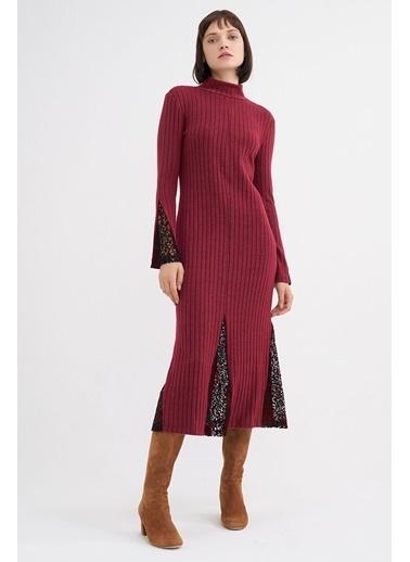 BGN Kiraz Rengi - Dantel Detaylı Jarse Elbise Kırmızı